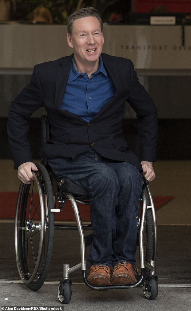 Frank Gardner pictured leaving the BBC after filming forThe Andrew Marr Show in February 2017
