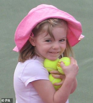 Madeleine (pictured) was three-years-old when she went missing whilst the McCanns were on holiday atPraia da Luz, Portugal in 2007