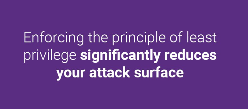 Enforcing the principle of least privilege significantly reduces your attack surface.