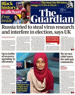 Guardian front page, Friday 17 July 2020