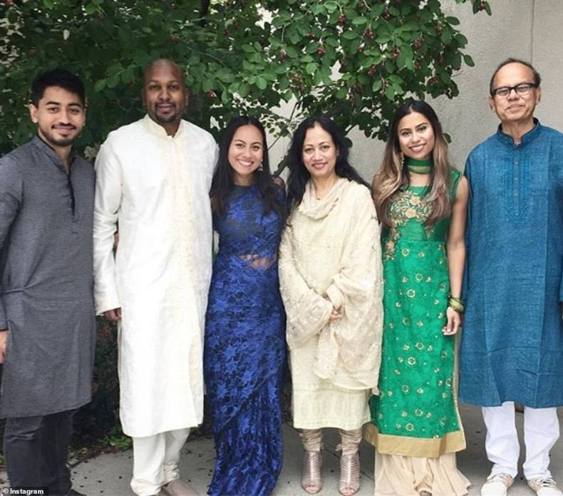 Fahim Saleh, far left, was born into a middle-class Bengali family in Saudi Arabia. He is pictured here along with his two sisters and his parents. The family eventually settled in New York state
