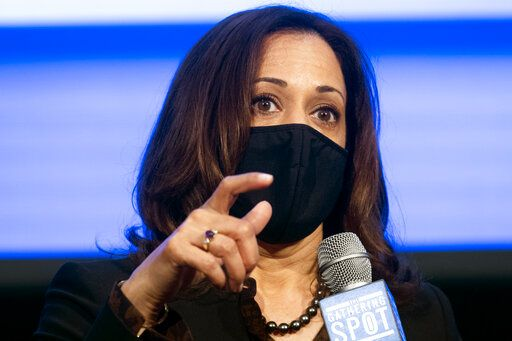 Democratic vice presidential candidate Sen. Kamala Harris, D-Calif., speaks during a campaign event, Friday, Oct. 23, 2020, in Atlanta.