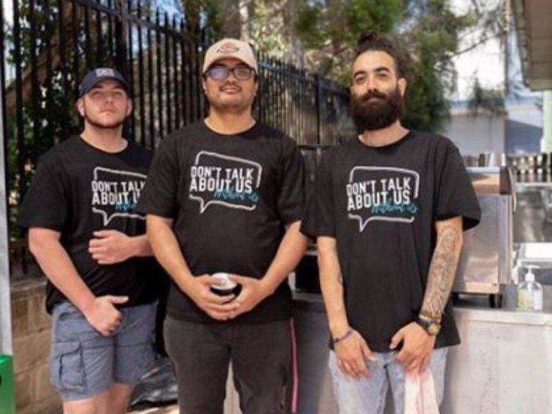 """BYSA mentors Lui Savea (centre) and Nickolas Koutsoudakis (right), who leads the """"Don't talk about us, without us"""" campaign to ensure young people's voices inform policy decisions made about their lives and communities. Picture: BYSA/Instagram"""
