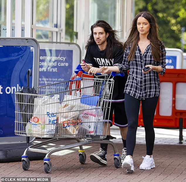 Stepping out: Maura Higgins headed out to do a food shop at Tesco in Essex with her hairdresser pal Jay Birmingham on Tuesday