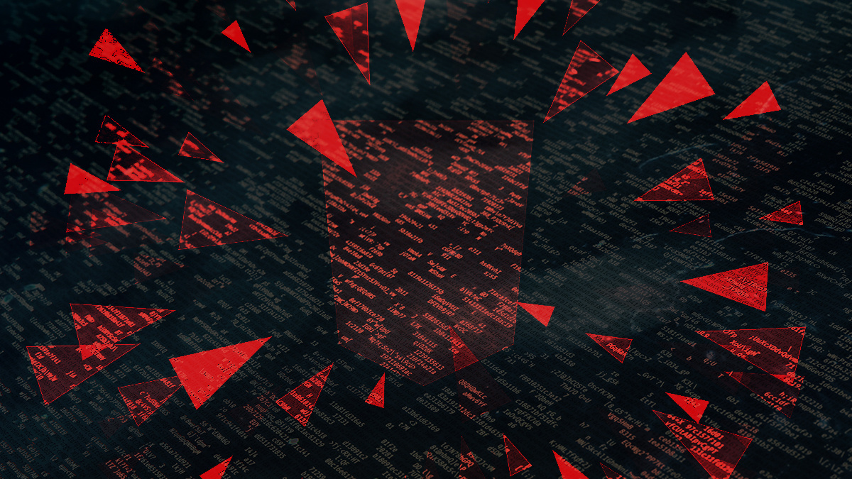 Red triangles pointing like daggers at a red shield shape, on black background